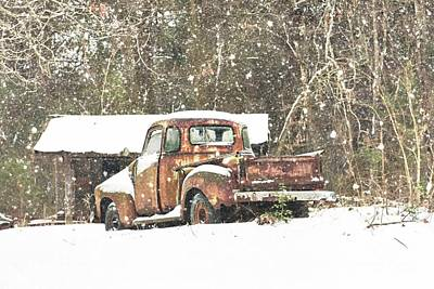Snow On The Chevy Poster by Benanne Stiens