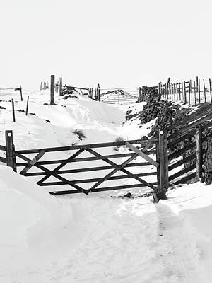 Snow On The Lane - Monochrome Poster by Philip Openshaw