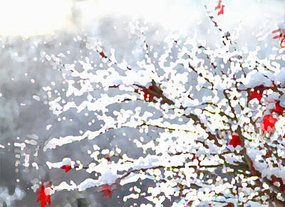 Poster featuring the digital art Snow On The Maple by Shelli Fitzpatrick
