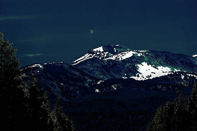 Snow On The Mountain At Night Poster