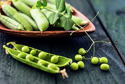 Snow Peas Or Green Peas Still Life Poster by Vishwanath Bhat