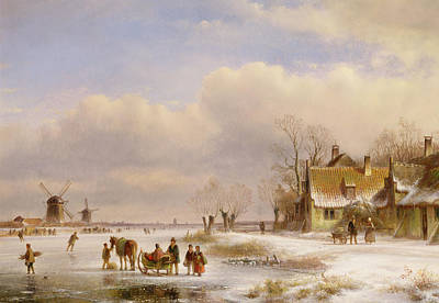 Snow Scene With Windmills In The Distance Poster by Lodewijk Johannes Kleyn