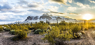 Snow Sunrise In The Superstition Mountains Poster by Chuck Brown