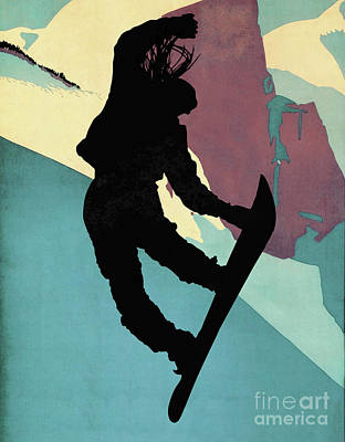 Snowboarding Betty, Morning Light Poster by Tina Lavoie