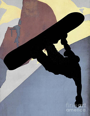 Snowboarding Dude, Evening Light Poster by Tina Lavoie