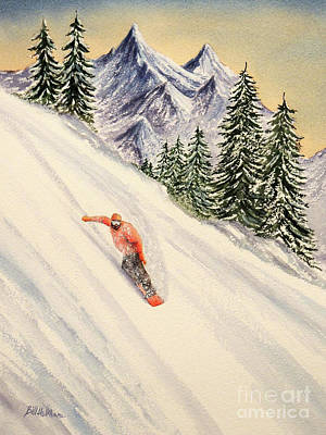 Poster featuring the painting Snowboarding Free And Easy by Bill Holkham
