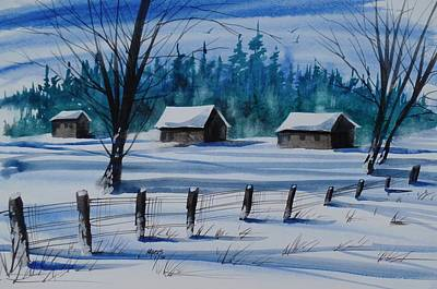 Snowed In, Watercolor Painting Poster by David K Myers