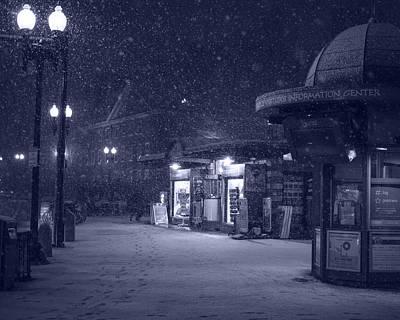 Snowfall In Harvard Square Cambridge Ma Kiosk Monochrome Blue Poster