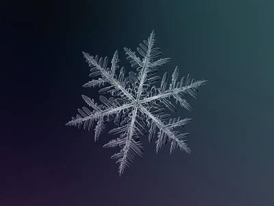Snowflake Photo - Neon Poster by Alexey Kljatov