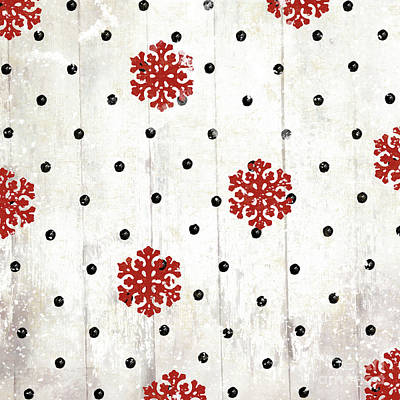 Snowflakes And Polka Dots Pattern Poster by Mindy Sommers
