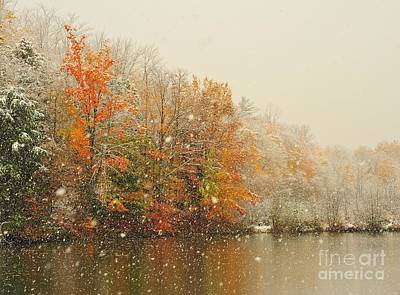 Snowing In Autumn Poster