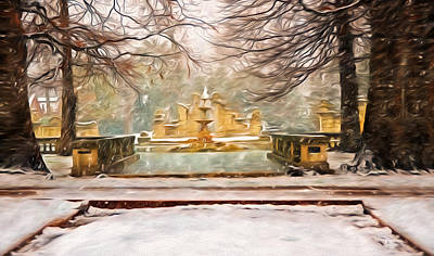 Snowing In Tower Grove Park Poster