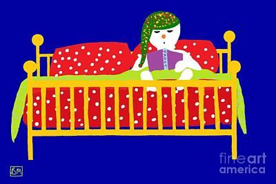 Poster featuring the digital art Snowman Bedtime by Barbara Moignard