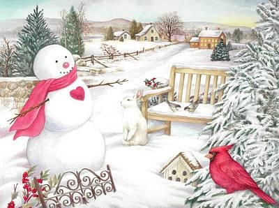 Snowman Cardinal In Winter Garden Poster
