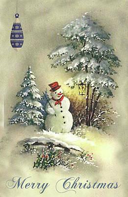 Poster featuring the digital art Snowman Christmas Card by Greg Sharpe