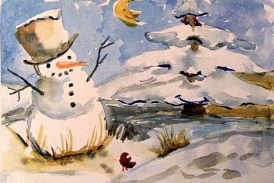 Snowman Hug Poster by Mindy Newman