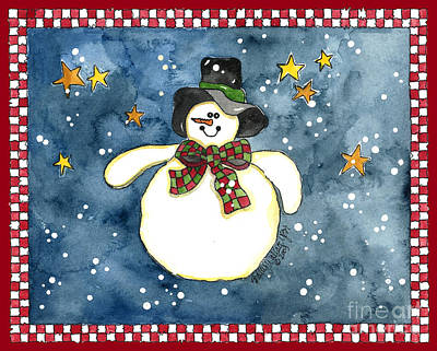 A Snowman On A Starry Night Poster by Shelley Wallace Ylst