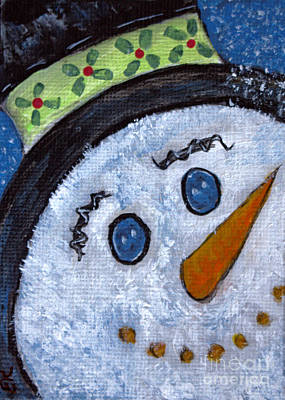 Snowman Magic On Christmas Eve Poster by Ella Kaye Dickey