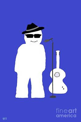Poster featuring the digital art Snowman Musician by Barbara Moignard