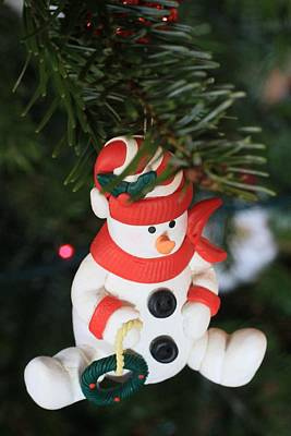 Snowman On A Christmas Tree  Poster by American School