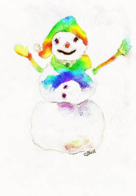 Poster featuring the painting Snowman With Rainbow 1 by Claire Bull