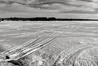 Snowmobile Tracks On China Lake Poster