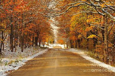 Snowy Autumn Morning In Pure Michigan Poster