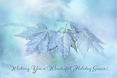 Snowy Baby Leaves Winter Holiday Card Poster