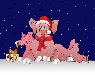 Snowy Christmas Pigs Poster