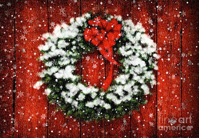 Snowy Christmas Wreath Poster