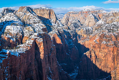 Snowy Cliffs Of Zion National Park Poster by James Udall