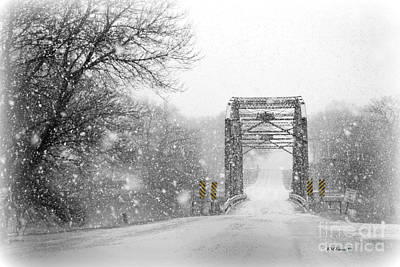 Snowy Day And One Lane Bridge Poster by Kathy M Krause
