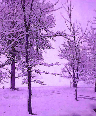 Poster featuring the photograph Snowy Day In Purple by Michelle Audas