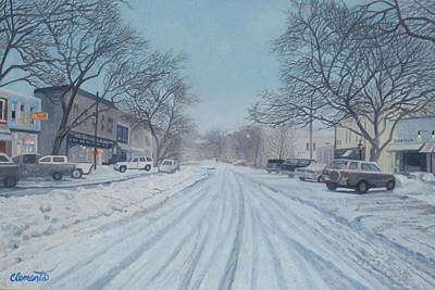Snowy Day On Main Street, Sag Harbor Poster by Barbara Barber
