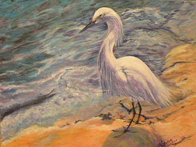 Poster featuring the painting Snowy Egret by Pauline  Kretler