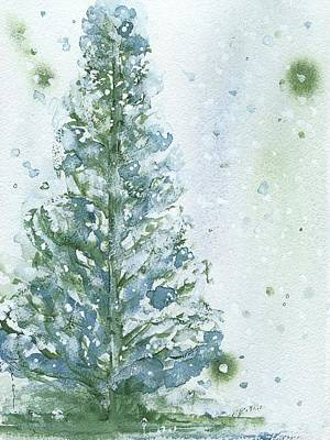 Poster featuring the painting Snowy Fir Tree by Dawn Derman