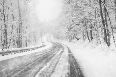 Snowy Gold Mine Road Poster by Lori Deiter