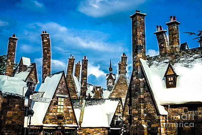 Snowy Hogsmeade Village Rooftops Poster