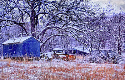 Snowy Outbuildings And Old Truck Poster by Anna Louise