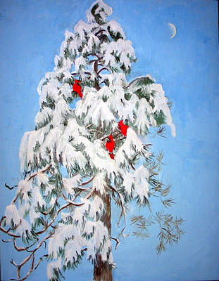 Snowy Pine With Cardinals Poster