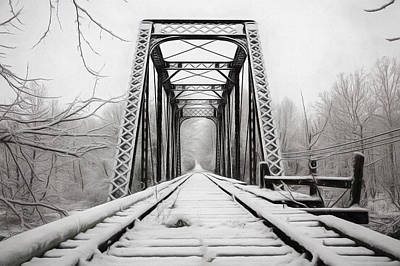Snowy Railroad Trestle Painting Poster