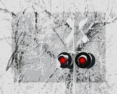 Snowy Red Light At Rr Crossing Poster
