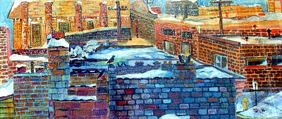 Snowy Roof Tops Poster by Mindy Newman