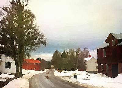 Snowy Street With Red House Poster