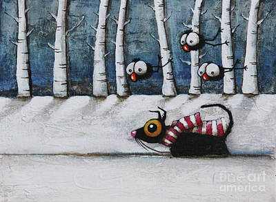 Snowy Walk Poster by Lucia Stewart