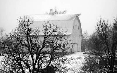 Snowy White Barn Poster