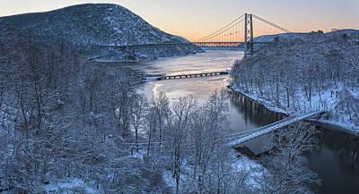 Snowy Winter Dawn At Three Bridges Poster