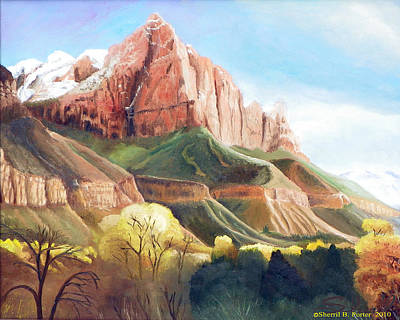 Poster featuring the painting Snowy Zion's Watchman by Sherril Porter