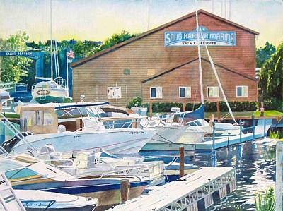 Poster featuring the painting Snug Harbor II by LeAnne Sowa