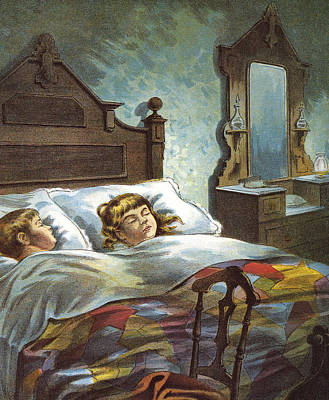 Snug In Their Bed On Christmas Eve Poster by William Roger Snow